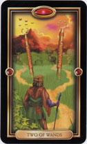 Gilded Tarot, 2 of Wands