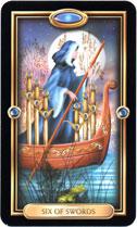 Gilded Tarot, 6 of Swords