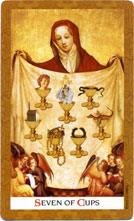 Golden Tarot Seven of Cups
