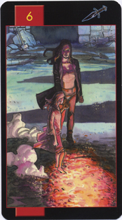 Gothic Tarot of Vampires, Six of Swords