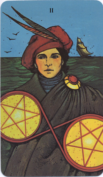 Morgan-Greer Tarot, Two of Pentacles
