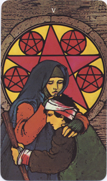 Morgan-Greer Tarot, Five of Pentacles