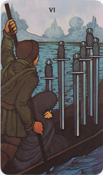 Morgan-Greer Tarot, Six of Swords